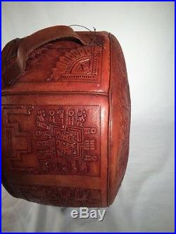 Vintage Hand-Crafted Peruvian Leather Carrying Case Suitcase Tote Pack Peru