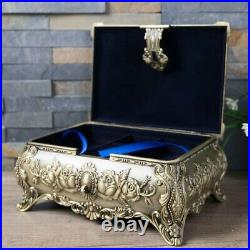 Vintage Jewelry Box 2 Layers Metal Art Craft Flower Carved Stone Decor Gift