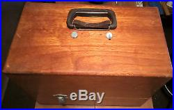 Vintage Wood Sewing Machine Portable Carrying Case with Dove Tail Construction