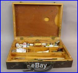 Vintage, Wooden, Artist Carrying Case With Palette & Brushes