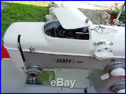 Vtg Pfaff 360 Sewing Machine With Carrying Case Attachments Foot Pedal EC WORKS