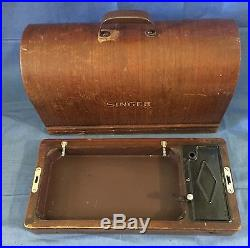 Vtg Singer Sewing Machine128 Wood Bentwood Carrying Case Only-3/4 Size 28 withKey