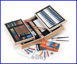 Watercolour Art Chest Set Paints Pencils Oil Pastels Colours Brushes Carry Case