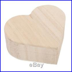 Wooden Heart-shaped Jewelry Storage Box Packaging Carrying Case Craft Decor New