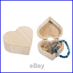 Wooden Heart-shaped Jewelry Storage Box Packaging Carrying Case Craft Decoration