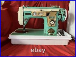 Working Vintage Gimbels Aqua Zigzag Sewing Machine W Foot Pedal, Cams Carry Case