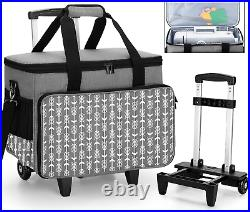Yarwo Detachable Rolling Sewing Machine Carrying Case, Trolley Tote Bag With Rem